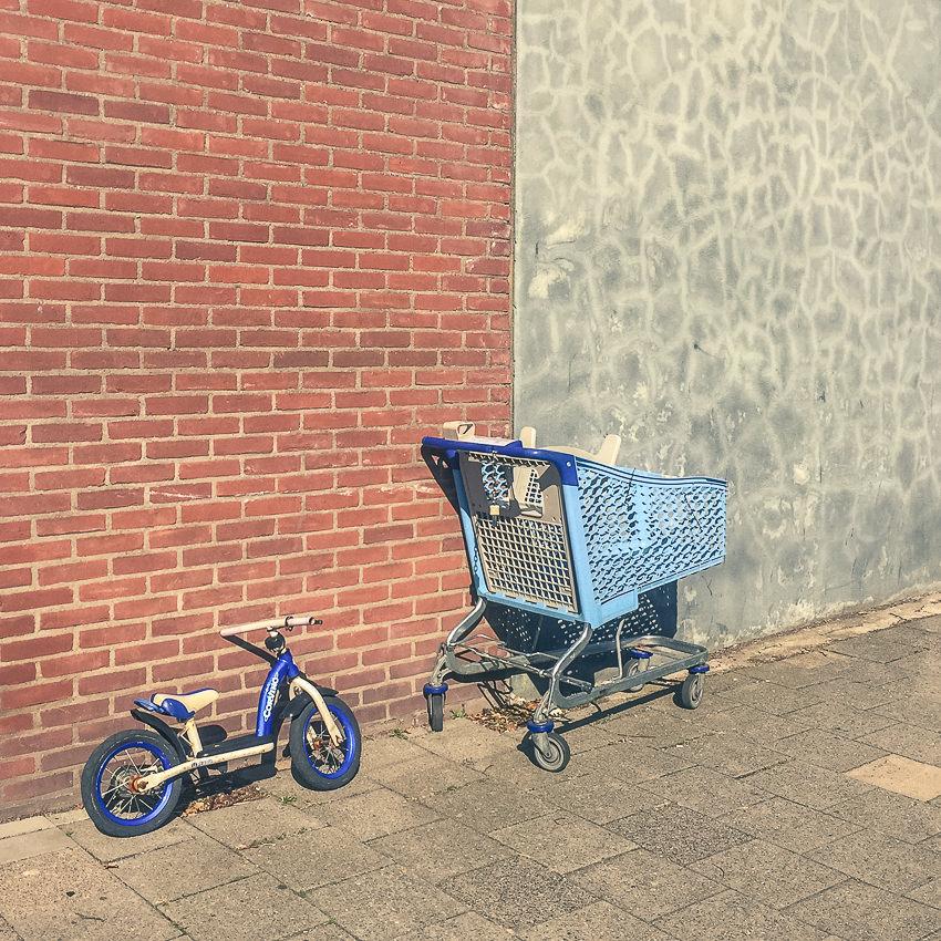 fietsje en winkelwagen